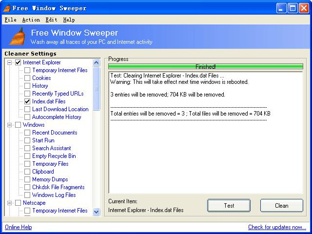 Click to View Full ScreenshotFree Window Sweeper 2.5 screenshot